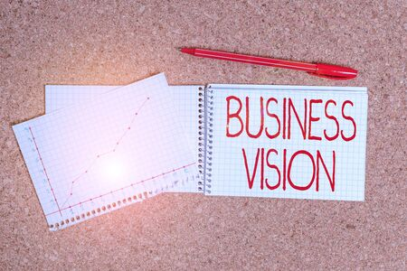 Conceptual hand writing showing Business Vision. Concept meaning description of what an organization would like to achieve Desk notebook paper office paperboard study supplies chart