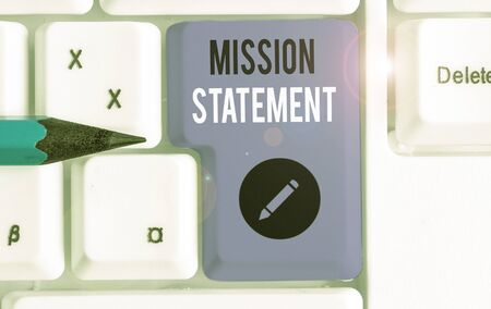 Text sign showing Mission Statement. Business photo text formal summary of the aims and values of a company