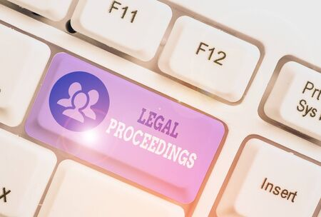 Text sign showing Legal Proceedings. Business photo showcasing procedure instituted in a court of law to acquire benefit Stock fotó