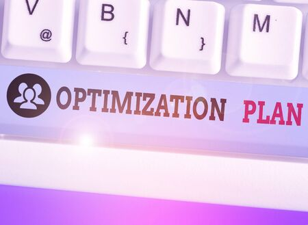 Text sign showing Optimization Plan. Business photo showcasing Finding an alternative with the most cost effective