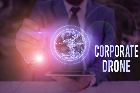 Conceptual hand writing showing Corporate Drone. Concept meaning unmanned aerial vehicles used to monitor business vicinity