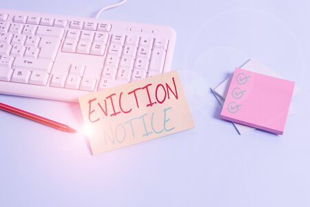 Conceptual hand writing showing Eviction Notice. Concept meaning an advance notice that someone must leave a property Paper blue keyboard office study notebook chart numbers memo Stock fotó