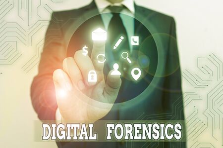 Conceptual hand writing showing Digital Forensics. Concept meaning investigation of material found in digital devices