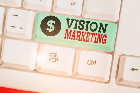 Writing note showing Vision Marketing. Business concept for outlining how they plan to change and improve in the future