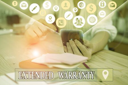 Text sign showing Extended Warranty. Business photo text contract which gives a prolonged warranty to consumers Imagens