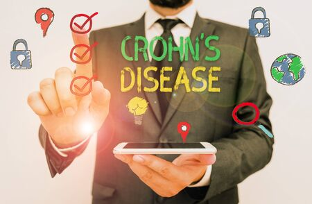 Text sign showing Crohn Disease. Business photo text the chronic inflammatory disease of the intestines Stock Photo