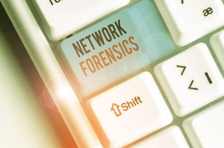 Word writing text Network Forensics. Business photo showcasing monitoring and analysis of computer network traffic
