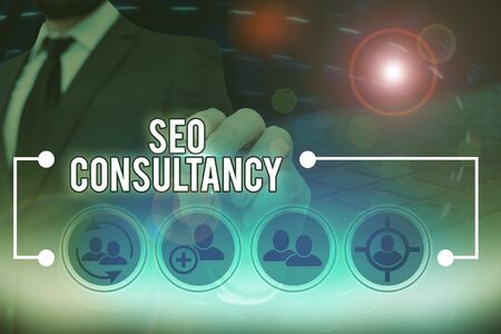 Text sign showing Seo Consultancy. Business photo text specialize in evaluating an organization website