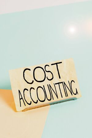 Conceptual hand writing showing Cost Accounting. Concept meaning the recording of all the costs incurred in a business Paper on buffer wire on soft pastel multi colours backdrop