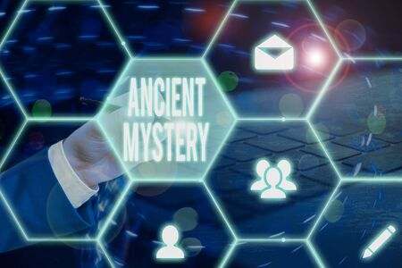 Text sign showing Ancient Mystery. Business photo showcasing anything that is kept secret or remains unexplained Stock Photo