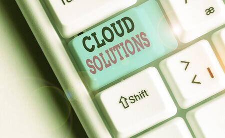 Writing note showing Cloud Solutions. Business concept for ondemand services or resources accessed via the internet