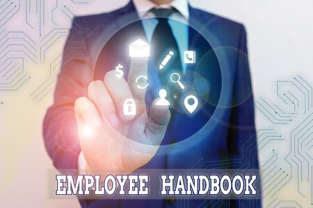 Conceptual hand writing showing Employee Handbook. Concept meaning states the rules and regulations and policies of a company