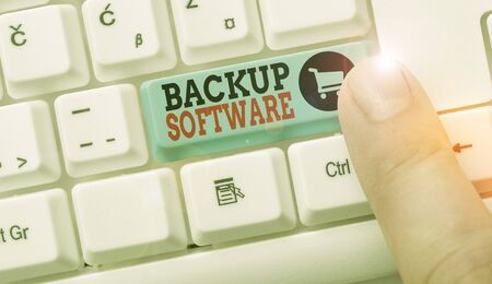 Conceptual hand writing showing Backup Software. Concept meaning create extra exact copies of files or entire computers