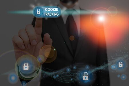 Writing note showing Cookie Tracking. Business concept for Data stored in the user computer by website being visited