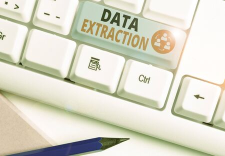 Handwriting text writing Data Extraction. Conceptual photo act or process of retrieving data out of data sources