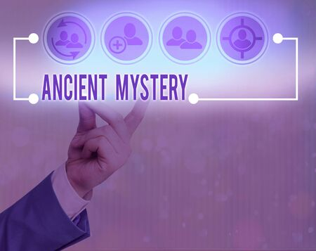 Writing note showing Ancient Mystery. Business concept for anything that is kept secret or remains unexplained