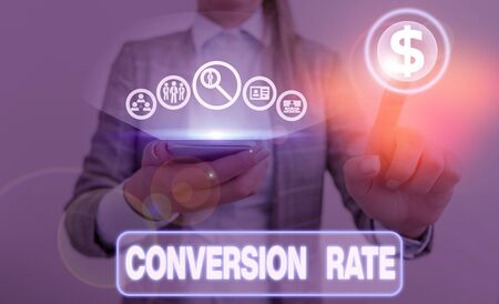 Writing note showing Conversion Rate. Business concept for number of visitors to a website that complete a desired goal