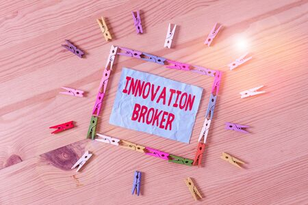 Conceptual hand writing showing Innovation Broker. Concept meaning help to mobilise innovations and identify opportunities Colored crumpled papers wooden floor background clothespin Archivio Fotografico