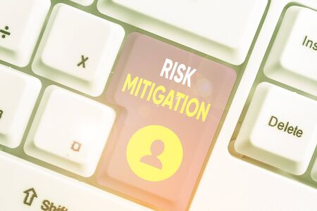 Word writing text Risk Mitigation. Business photo showcasing strategy to prepare for and lessen the effects of threats