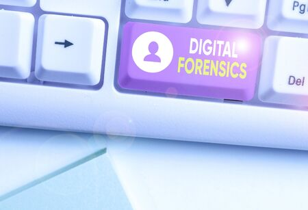 Handwriting text writing Digital Forensics. Conceptual photo investigation of material found in digital devices