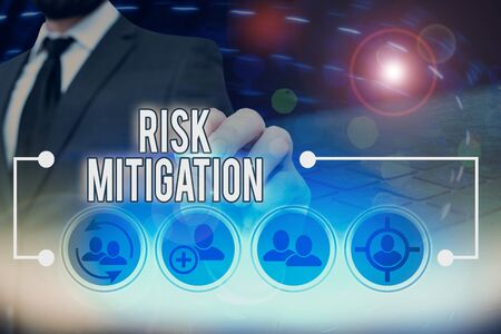 Text sign showing Risk Mitigation. Business photo text strategy to prepare for and lessen the effects of threats