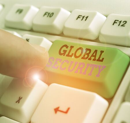 Word writing text Global Security. Business photo showcasing protection of the world against war and other threats