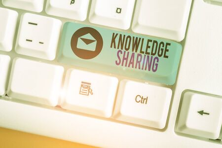 Conceptual hand writing showing Knowledge Sharing. Concept meaning deliberate exchange of information that helps with agility