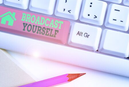 Writing note showing Broadcast Yourself. Business concept for broadcasting your viewing interests for all to see Stock Photo