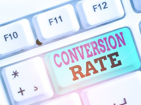 Handwriting text Conversion Rate. Conceptual photo number of visitors to a website that complete a desired goal