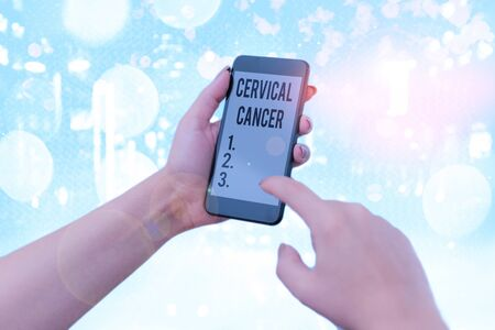 Word writing text Cervical Cancer. Business photo showcasing type of cancer that occurs in the cells of the cervix Stock Photo