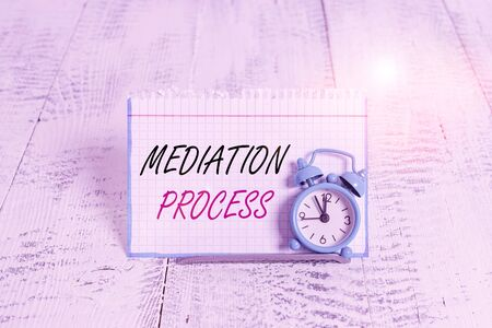 Word writing text Mediation Process. Business photo showcasing informal and flexible dispute resolution process Mini blue alarm clock stand tilted above buffer wire in front of notepaper