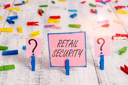 Text sign showing Retail Security. Business photo text process which goods sold to the public in a secure fashion Scribbled and crumbling sheet with paper clips placed on the wooden table