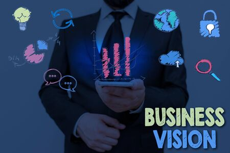 Text sign showing Business Vision. Business photo showcasing description of what an organization would like to achieve
