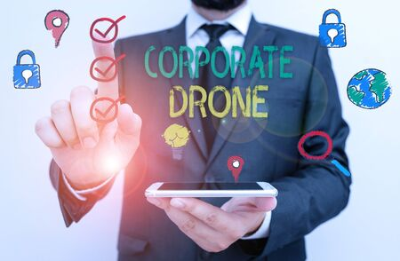 Text sign showing Corporate Drone. Business photo text unmanned aerial vehicles used to monitor business vicinity