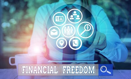 Writing note showing Financial Freedom. Business concept for make big life decisions without being stressed about money