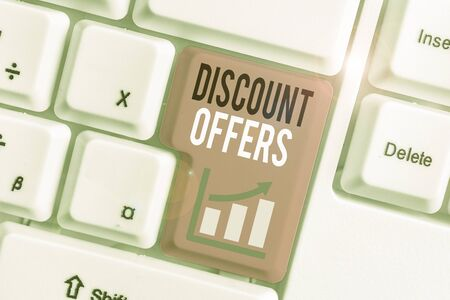 Word writing text Discount Offers. Business photo showcasing amount or percentage deducted from the normal selling price