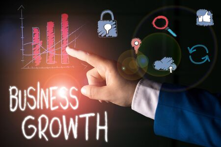 Text sign showing Business Growth. Business photo text process of improving some measure of an enterprise success