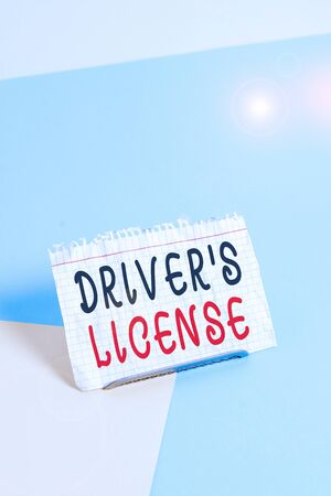 Text sign showing Driver S License. Business photo text a document permitting a demonstrating to drive a motor vehicle Paper placed tilted above buffer wire on soft pastel multi colours backdrop