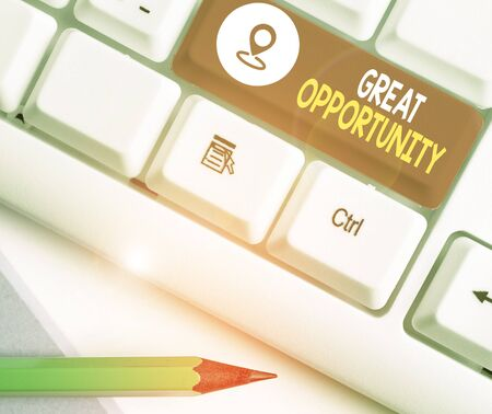 Text sign showing Great Opportunity. Business photo text an appropriate or favorable time or occasion to venture