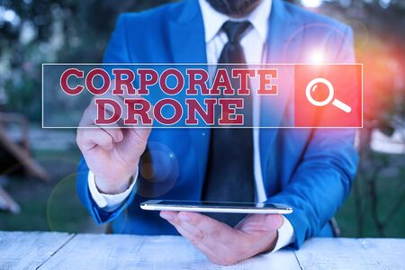 Text sign showing Corporate Drone. Business photo showcasing unmanned aerial vehicles used to monitor business vicinity