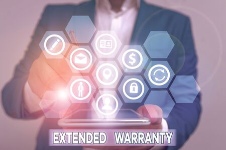 Conceptual hand writing showing Extended Warranty. Concept meaning contract which gives a prolonged warranty to consumers