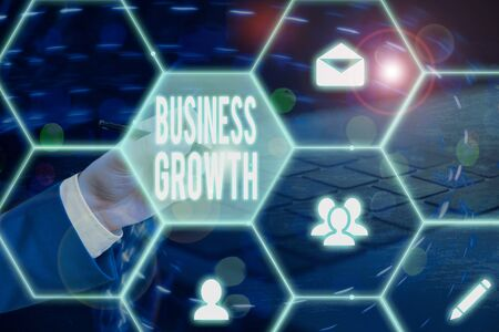 Text sign showing Business Growth. Business photo showcasing process of improving some measure of an enterprise success