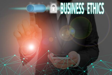 Text sign showing Business Ethics. Business photo text study of appropriate business policies and practices Banco de Imagens