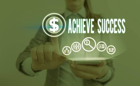 Text sign showing Achieve Success. Business photo showcasing to attain a desired end or aim Achievement of something Stock Photo
