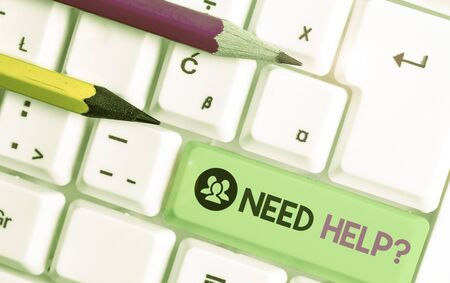 Text sign showing Need Helpquestion. Business photo text to give or provide what is necessary to accomplish a task