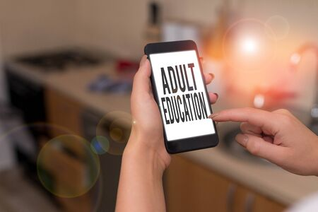 Conceptual hand writing showing Adult Education. Concept meaning educational programs for adults who are out of school