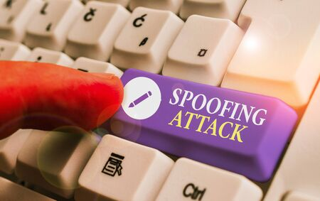 Conceptual hand writing showing Spoofing Attack. Concept meaning impersonation of a user, device or client on the Internet 写真素材 - 139454789