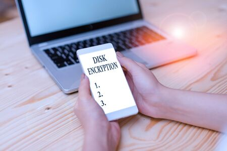 Word writing text Disk Encryption. Business photo showcasing the security mechanism used to protect data at rest