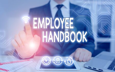 Handwriting text Employee Handbook. Conceptual photo states the rules and regulations and policies of a company