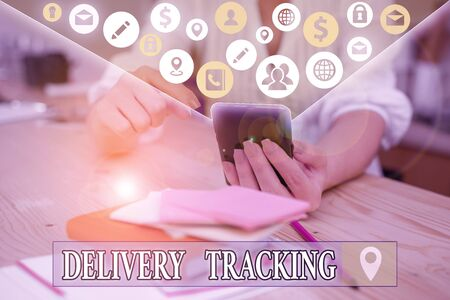 Text sign showing Delivery Tracking. Business photo text the process of localizing shipping containers and mails